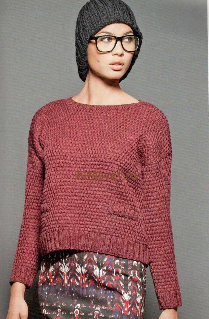 488d0a2201791 Короткий пуловер спицами женский, фото.   Вязание спицами для женщин ...