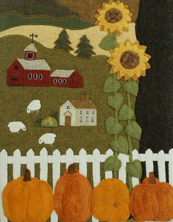 FREE First Class SHIPPING for the BRAND NEW (mid-September 2016) pattern of this awesomely unique, original wall hanging, The Farm on Grange Hall Road.  Be sure to ZOOM for the details. Ive taken large photographs which youll be able to refer back to while working this pattern.  Late September on a farm ... color everywhere. The summer is gone by, and the nights are chilly ... maybe even frosty. Harvest time is nearly over. But the grass in the meadow is still green, and there my wooly…
