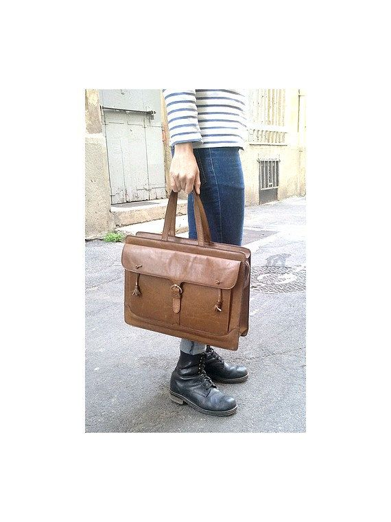 french 40S LEATHER HANDBAG/ briefcase / lap top by lesclodettes, $120.00