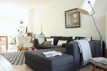 My Houzz Eclectic Amsterdam Apartment Living Room Dark Grey Couch In A Light Coloured