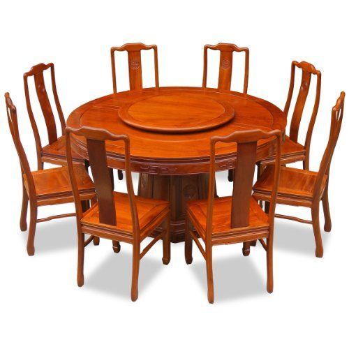 60in Rosewood Round Dining Table with 8 Chairs - Chinese Longevity ...