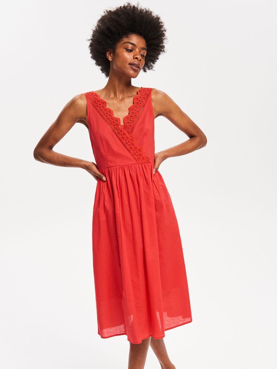 703ce8853e Sukienka z kopertowym dekoltem