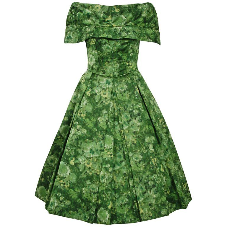 78ee597072b490 1956 Christian Dior Demi-Couture Blue Floral Silk Portrait-Collar New Look  Dress, Los Angeles Vintage, Beverly Hills…   1950's Full Skirt Party Dresses  in ...