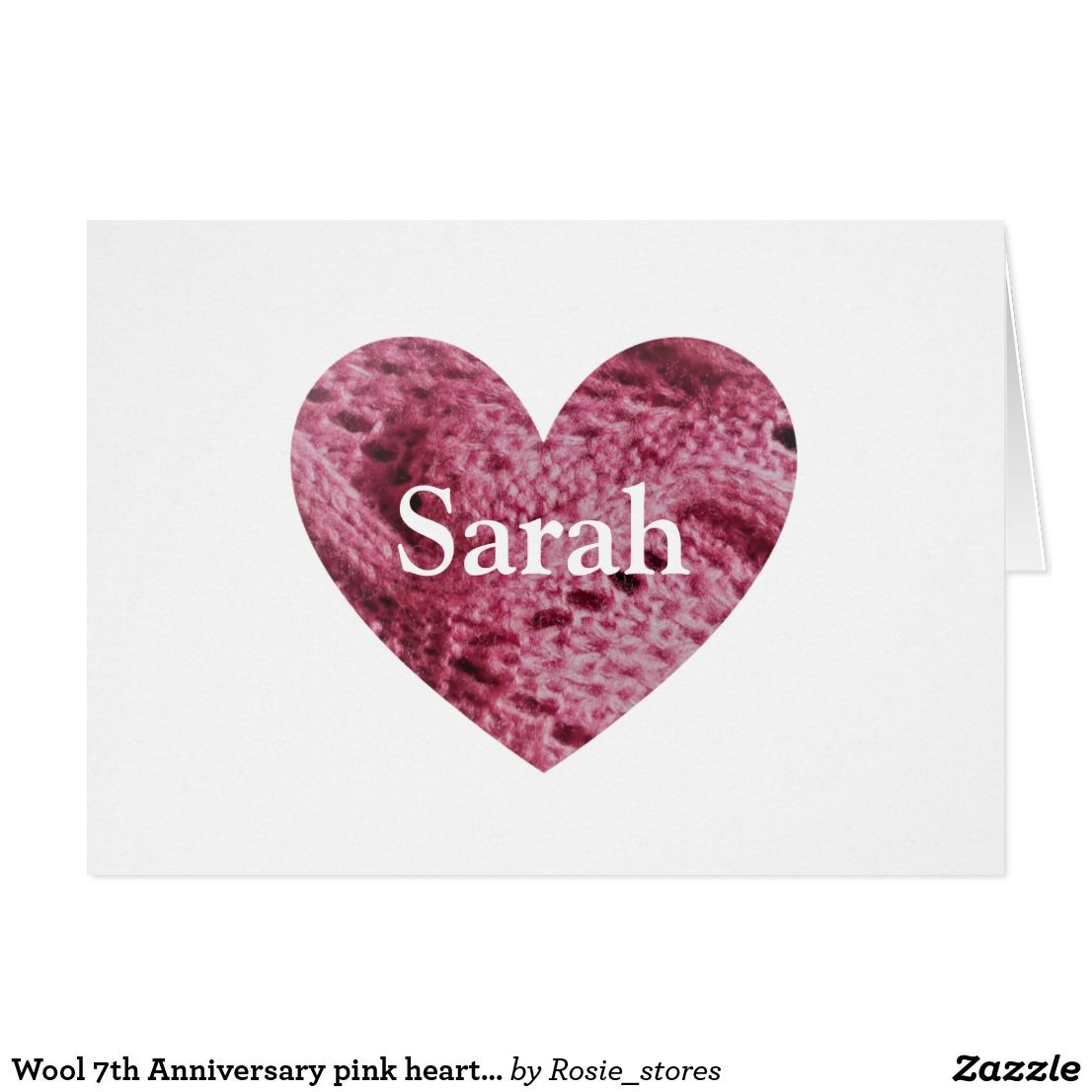 Wool 7th Anniversary pink heart card