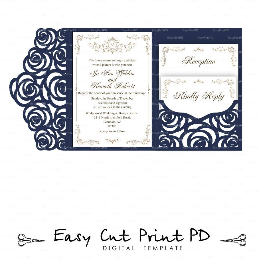 Set of Tri Fold pocket roses envelope 5x7 Wedding Invitation ...