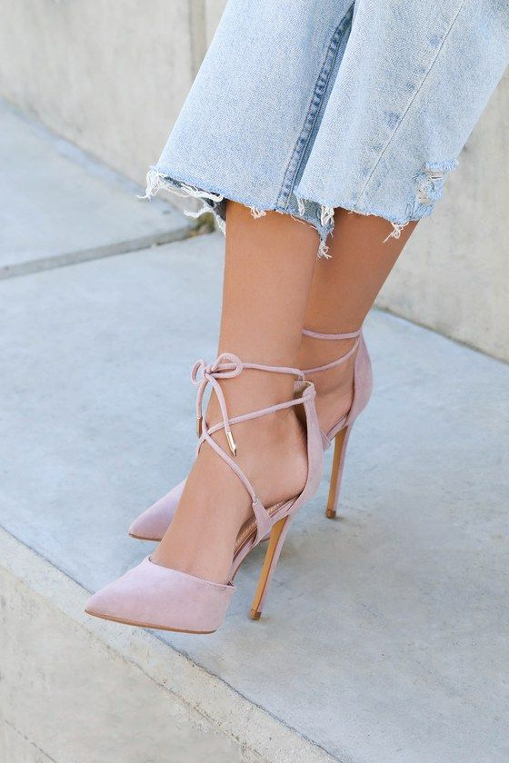 195e071ad1 Lulus | Dani Dusty Rose Suede Lace-Up Heels | Size 9 | Vegan ...