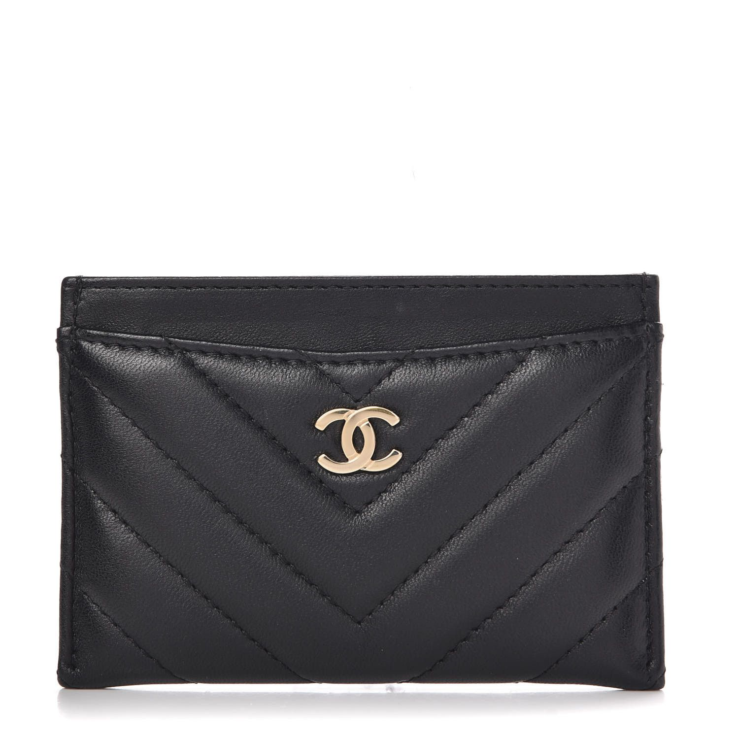 CHANEL Lambskin Chevron Quilted Card Holder Black Chanel