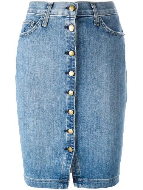 Current Elliott Buttoned Denim Skirt Petra Teufel Farfetch Com Designer Denim Skirts Denim Button Skirt Denim Midi Skirt Pencil,Custom Design Apparel