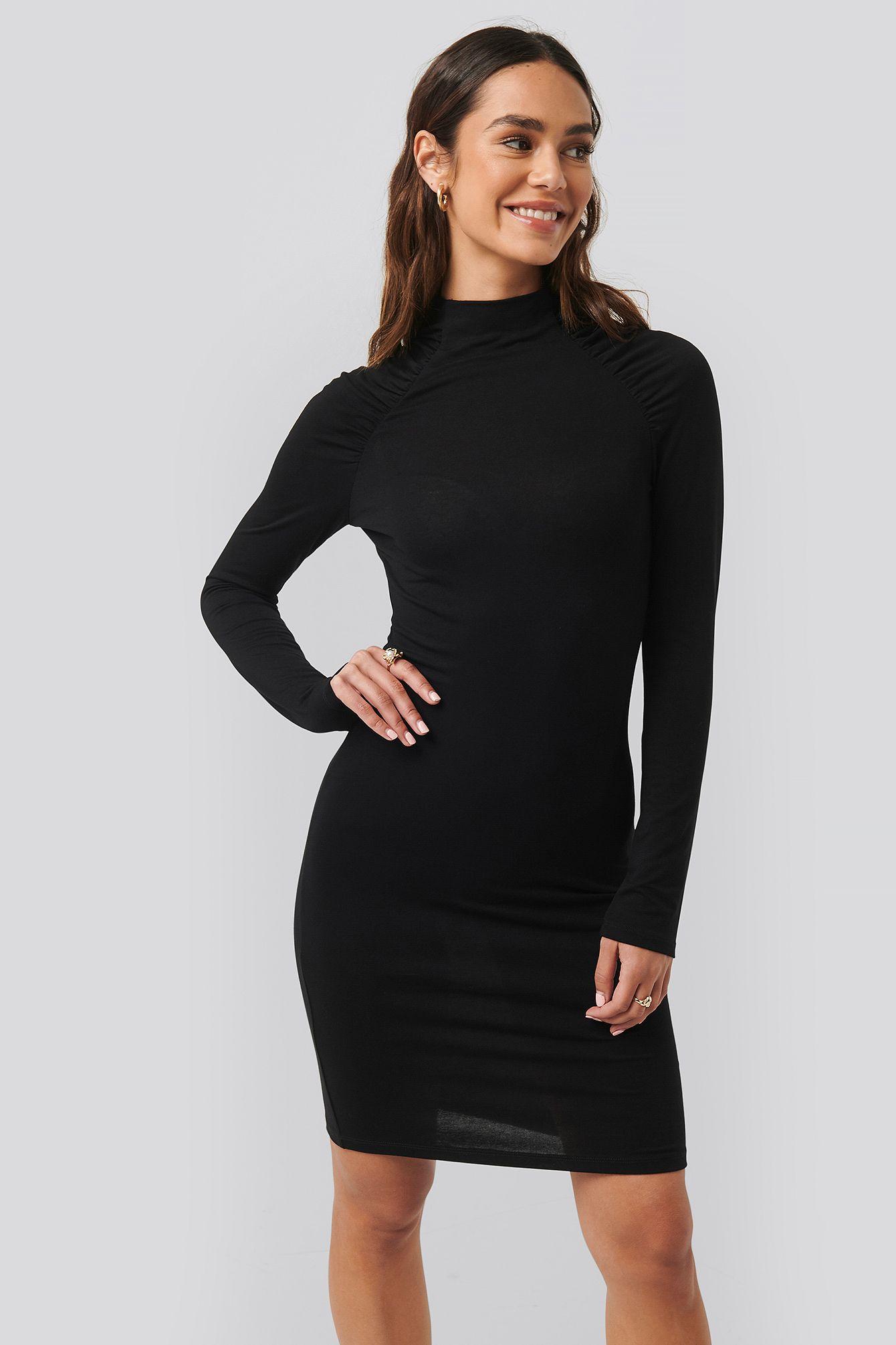 ruched raglan sleeve dress schwarz | hochzeitskleid eng