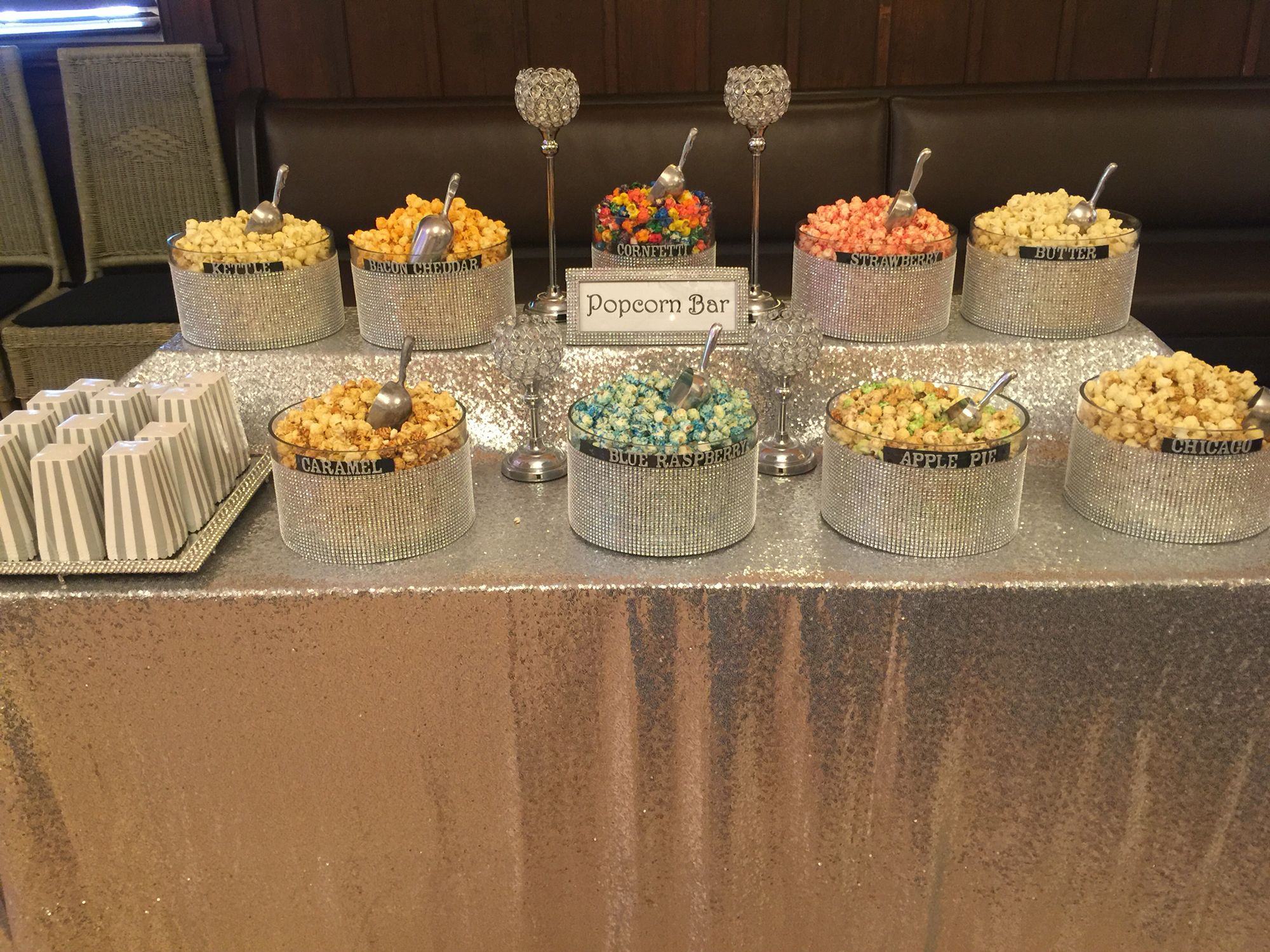Bling Silver Sequin Popcorn Bar With Images Wedding Popcorn