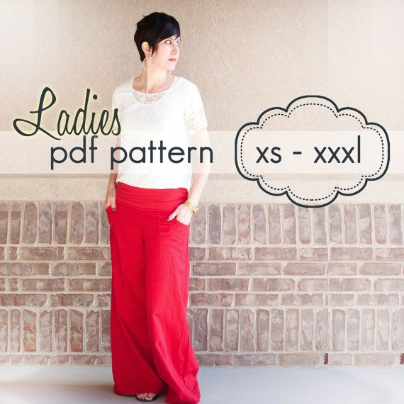 Ladies Wideleg Pants, Capris and Shorts - INSTANT DOWNLOAD - xs ...