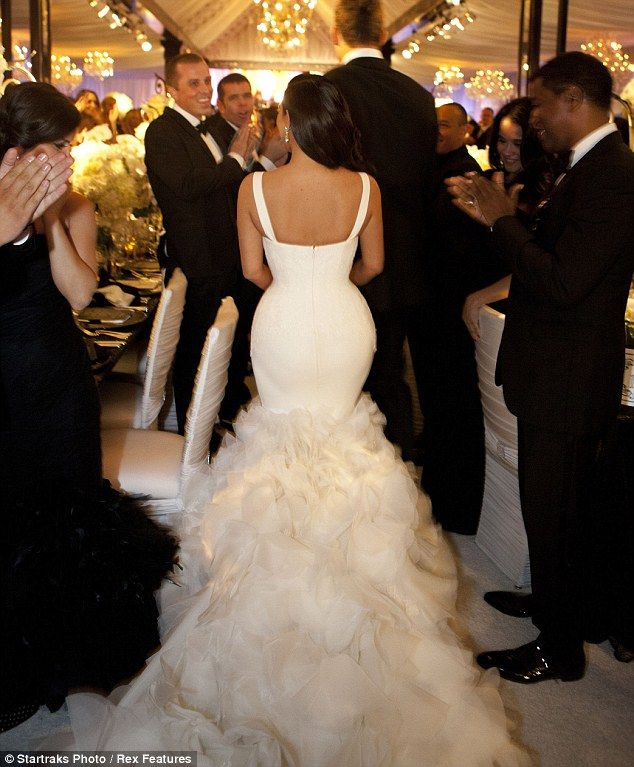 Cute Costume change Newlywed Kim Kardashian dons dress number two as she heads into her reception with Kris Humphries