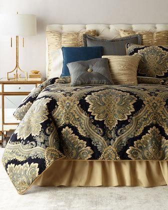 6xzq Raymond Waites King Navy Chenille 3 Piece Comforter Set Queen