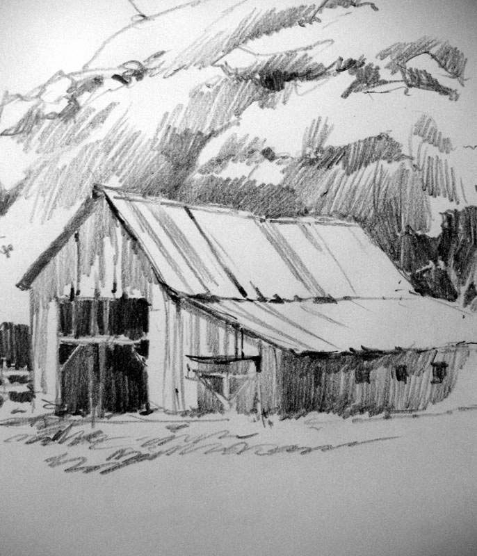 Sketch book pencil drawing of old barn at capitol reef national park by roland lee