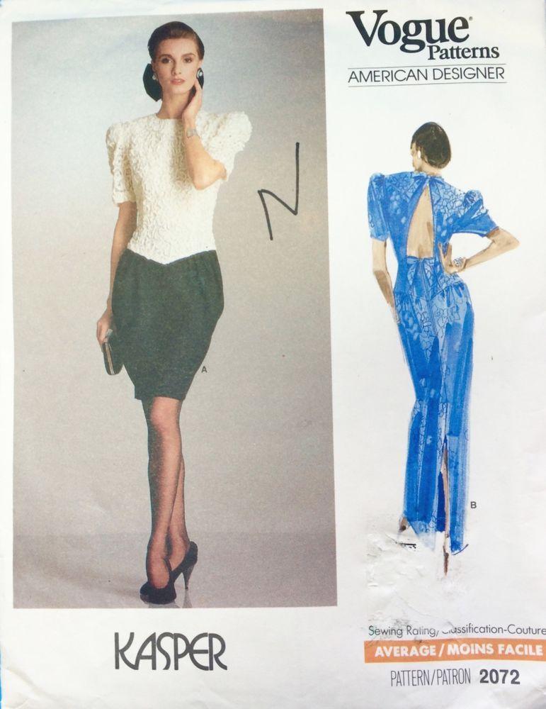 Vogue 2072 Sewing Pattern American Designer Kasper Sz 6-8-10 Petite ...