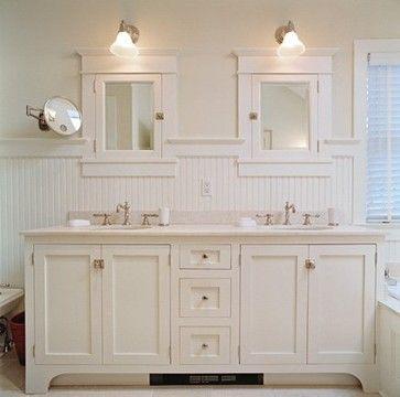 Beadboard Bathroom White Double Vanity Cottage Style