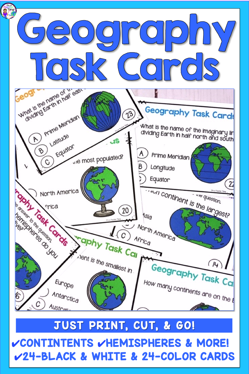 The Geography Task Cards Are Just What You Ll Need In Your Elementary Classroom Grades 3 6 To Support Students In Lear Geography Lessons Task Cards Geography [ 1256 x 837 Pixel ]