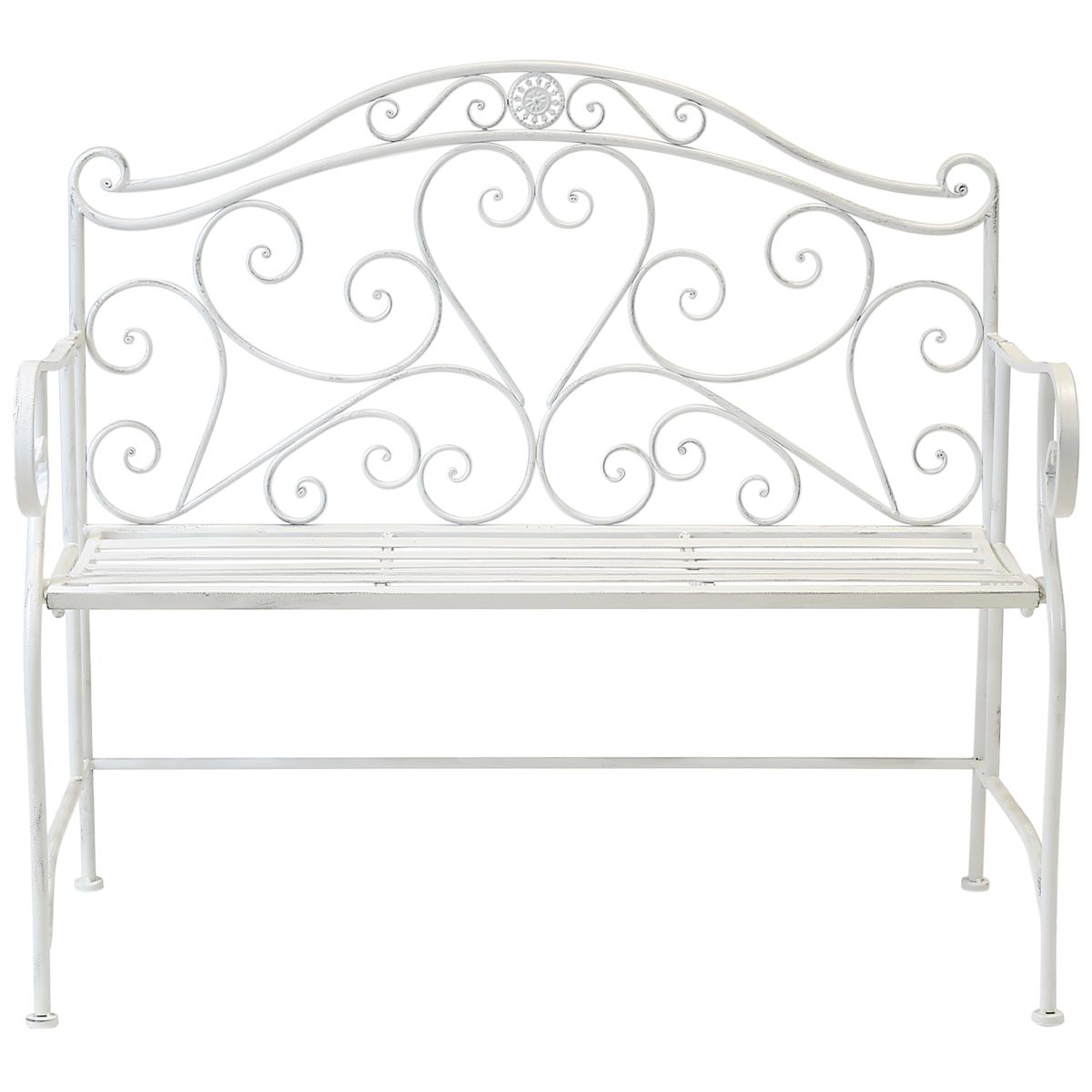 Bentley Garden White Wrought Iron Bench With Images Wrought