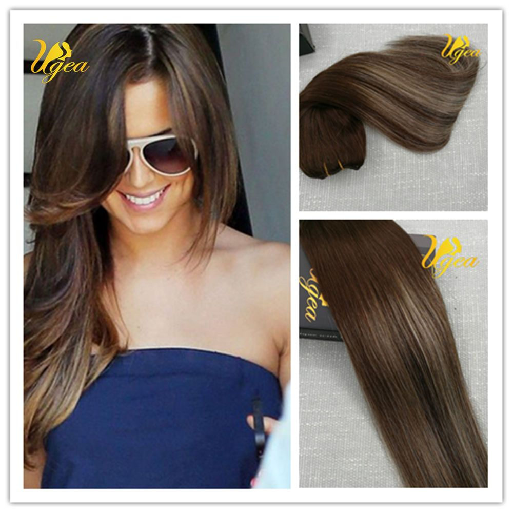 Full Head Balayage Remy Ombre Clip In Human Hair Extensions Thick