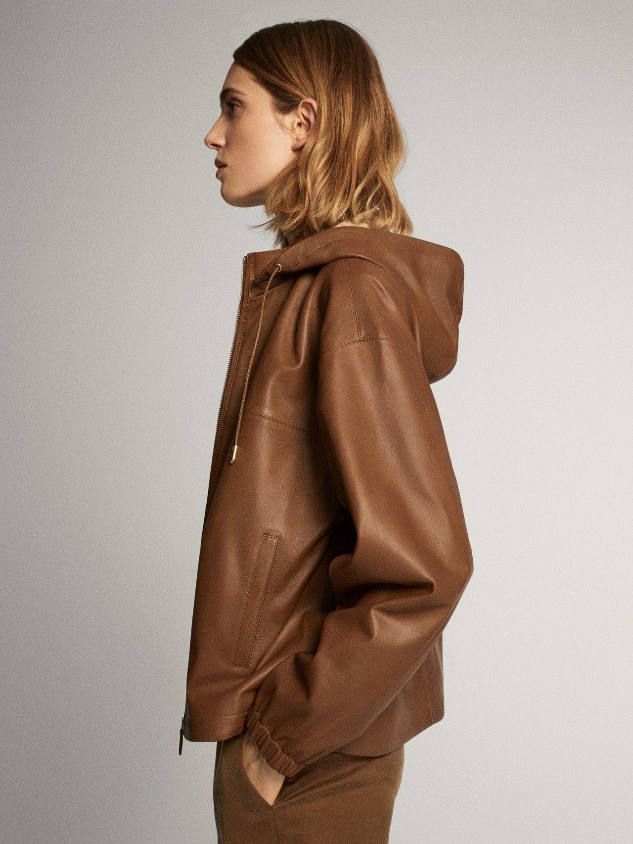 Massimo Dutti Mujer Cazadora Napa Capucha Marron M Jackets Jackets For Women Fashion