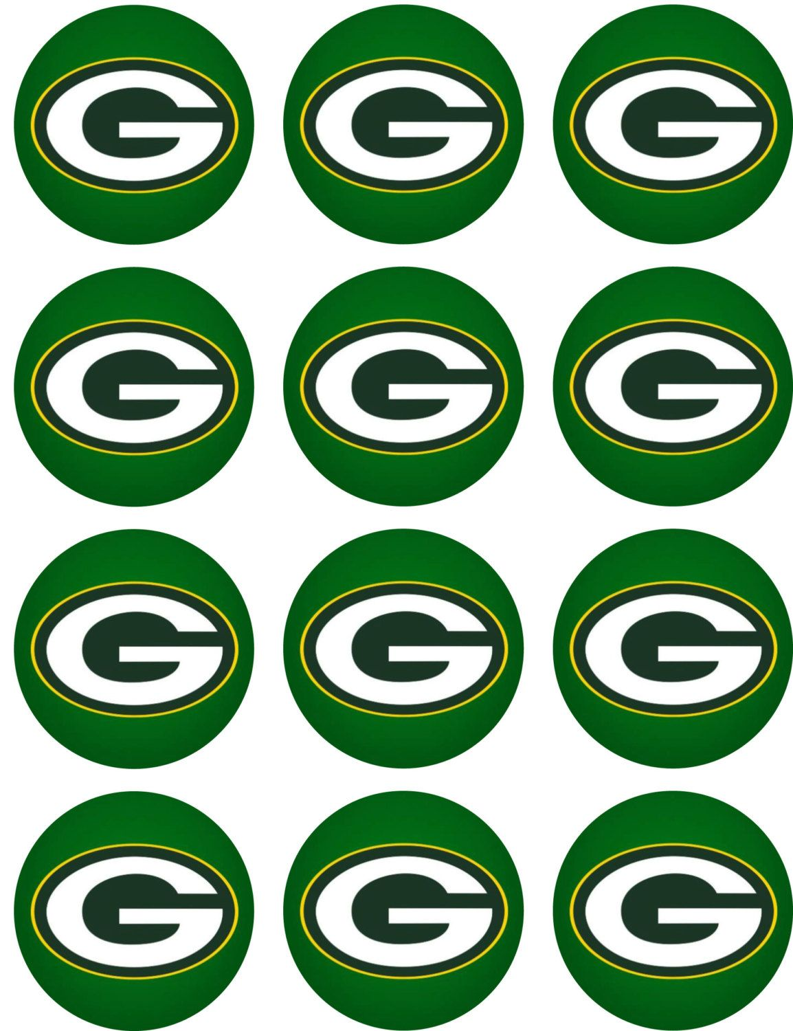 """Cake Toppers Green Bay Packers Cupcake Toppers Edible Image 2/"""" Frosting Circles"""