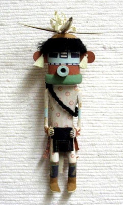 "Hopi Carved Old Style 9.25"" Corn Boy Kachina Doll Sculpture by Marc Bilagody"