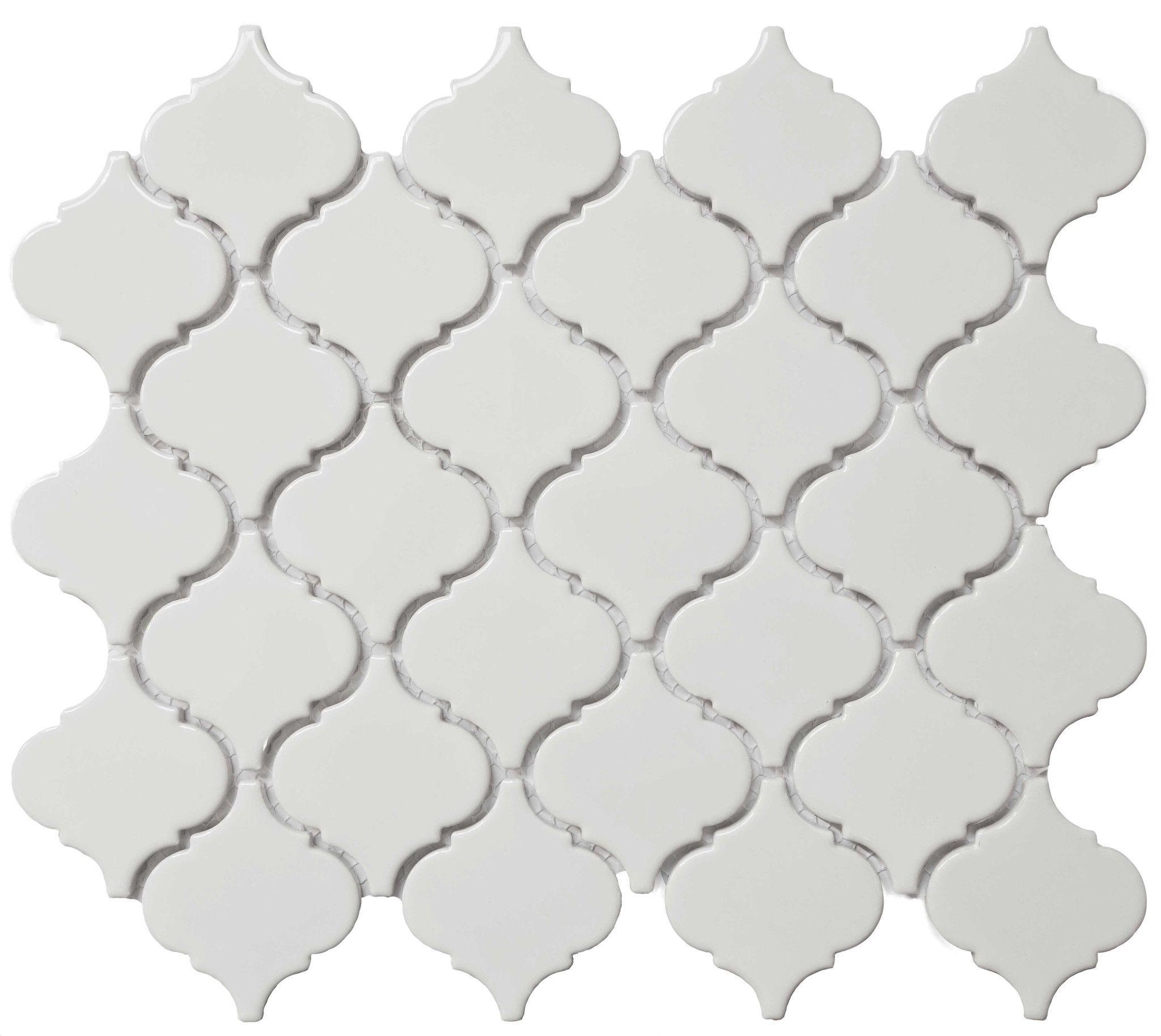 Royal White Glossy Arabesque Lantern Mosaic With Images White