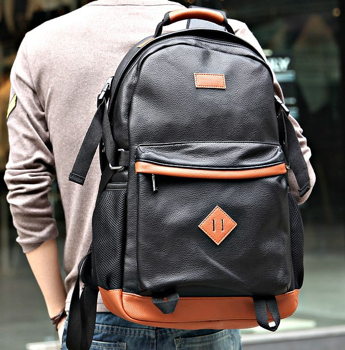 stacy bag hot sale high quality men male leather backpack man fashion  casual travel backpack student school bag  18.00 6030994bd944b