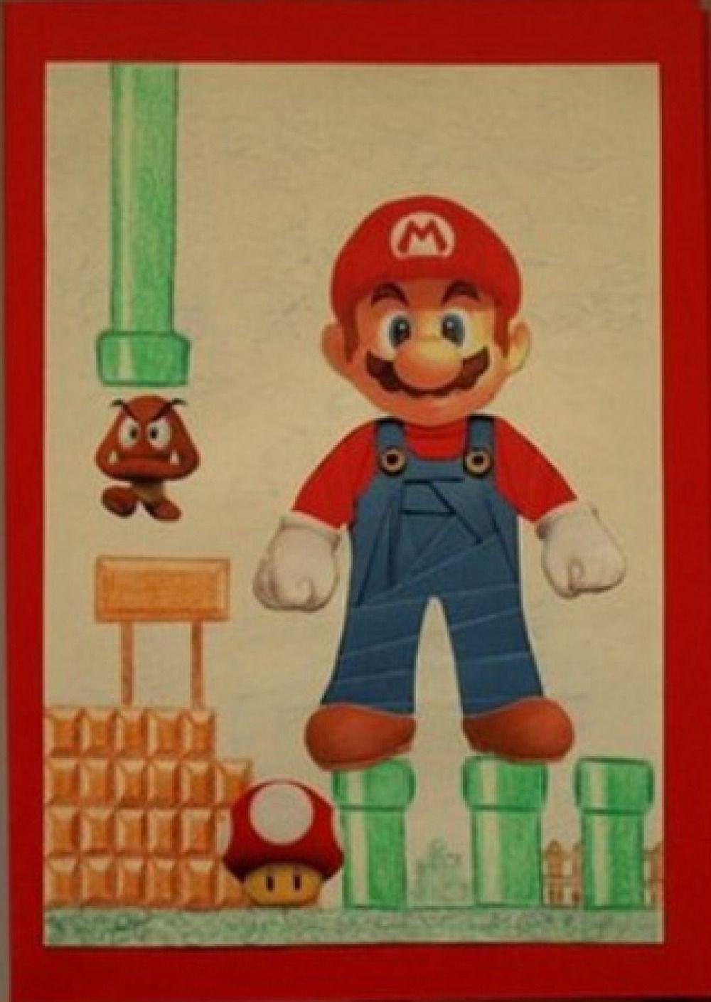 Carte Iris Folding Mario Sur Fond Rouge Avec Fond Dessiné