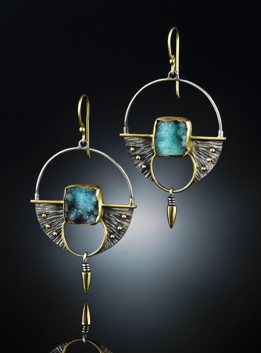 Druzy Chrysocolla Earrings. Sterling Silver & 18k. www.amybuettner.com