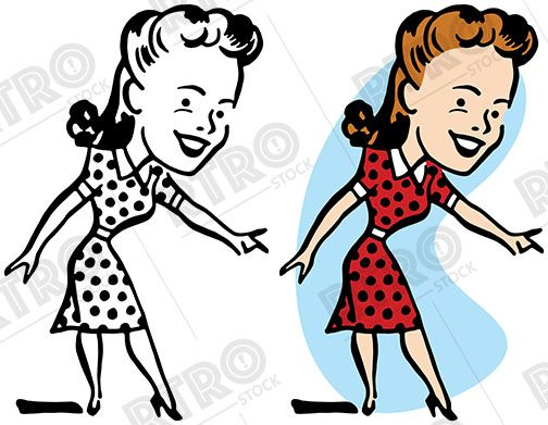 a smiling woman in a polka dot dress pointing at something vintage rh pinterest co uk free vintage woman clipart vintage woman clipart