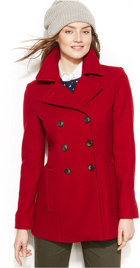 $225, Red Pea Coat: Tommy Hilfiger Double Breasted Pea Coat. Sold ...
