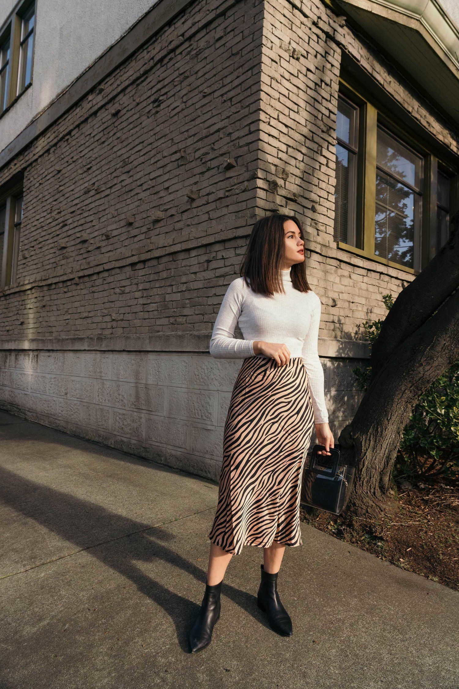 Ashleigh Kizer tiger print midi skirt | printed skirt outfit, seattle