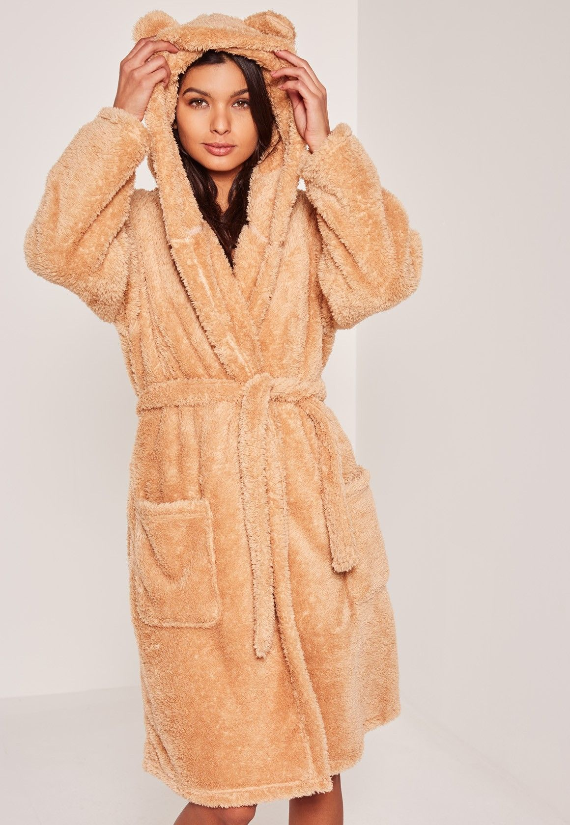 Go for the bear vibes with this brown soft fleece dressing gown with teddy  bear ears to the hood. 5fe0be2d5