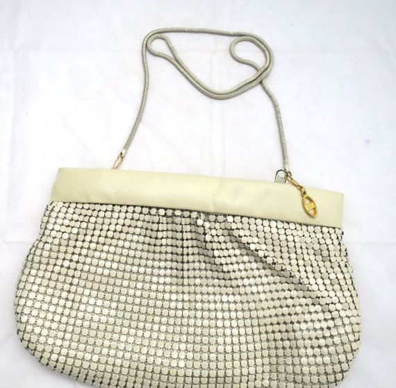 Items similar to Vintage Beige Mesh Shoulder Bag Metallic Body Leather Upper Band Zipper Closure Detachable Chain Handle 1980's Slinky Metal Bag Formal Bag on Etsy