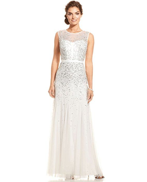 5fe8d0d14ca Amazon.com: Adrianna Papell Women's Long Beaded Gown with Illusion  Neckline: Clothing