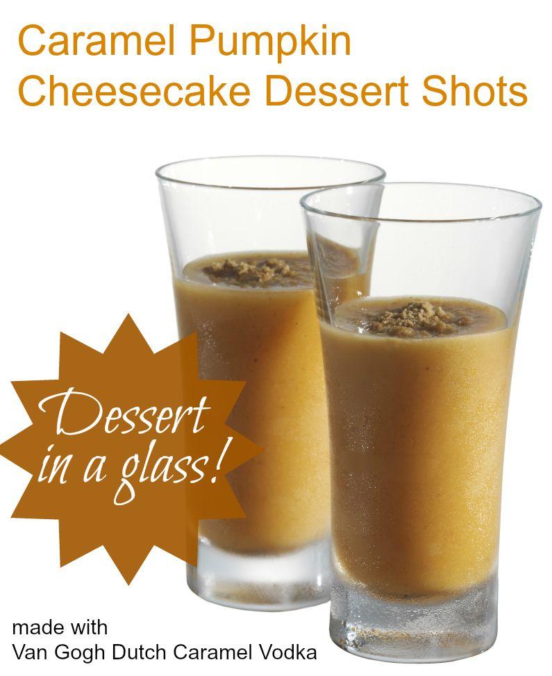 Caramel Pumpkin Cheesecake shots recipe -  dessert in a glass!  #dessert #recipe