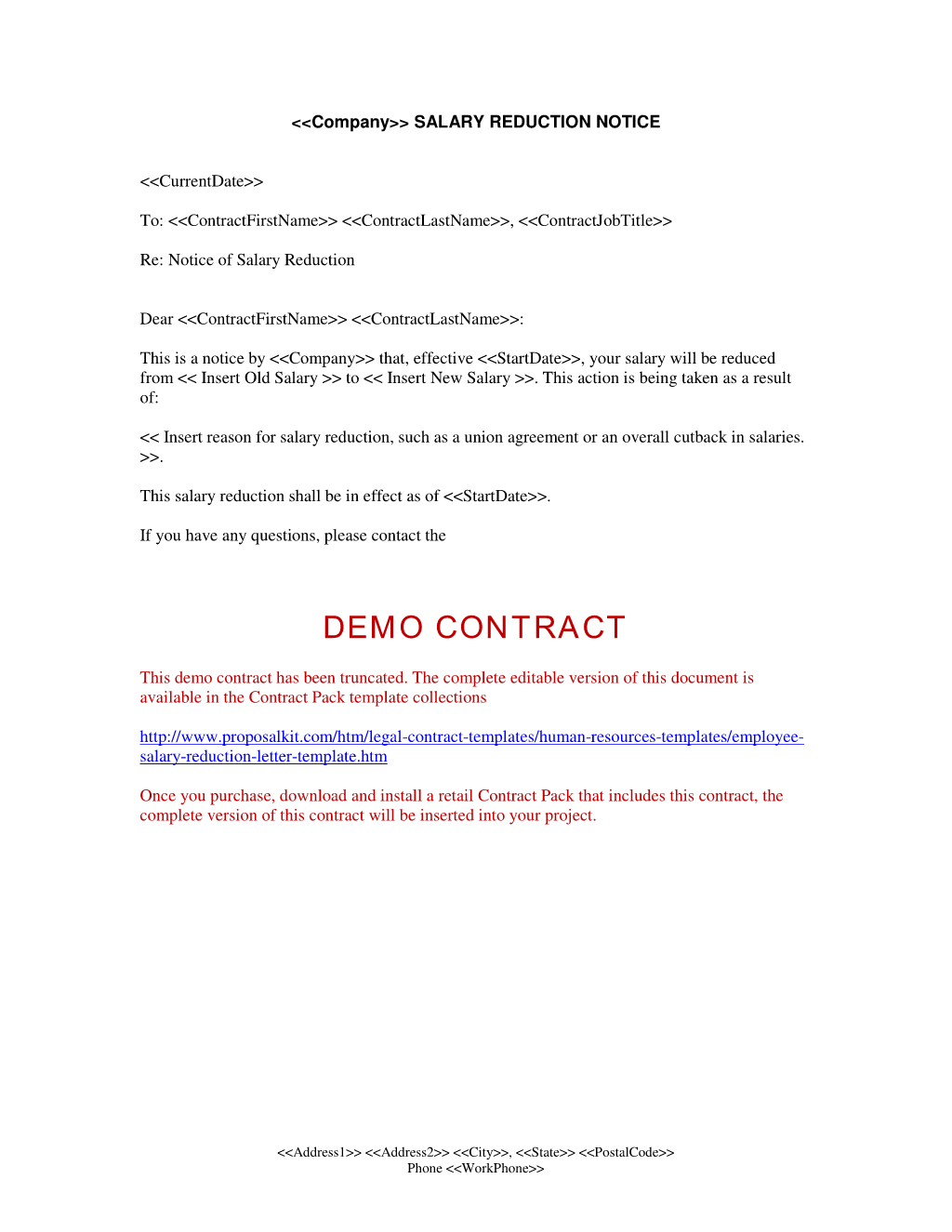 wage agreement template - employee salary reduction letter human resources letters