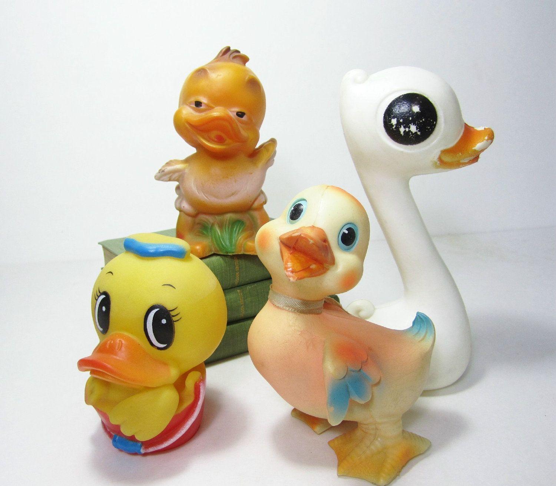 Vintage Toy Rubber Duck Duckies Plakie Toys Squeak Yellow Japan