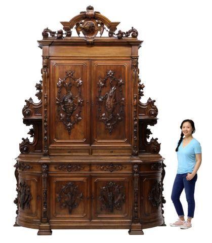 Monumental French Walnut Hunt Board Game Birds Antique French Furniture Carved Furniture Antique Furniture
