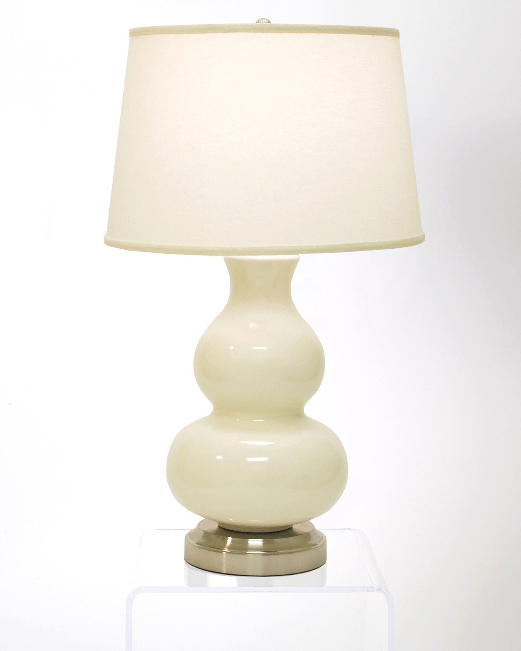Marilyn ivory on nickel cordless lamp made in the usa