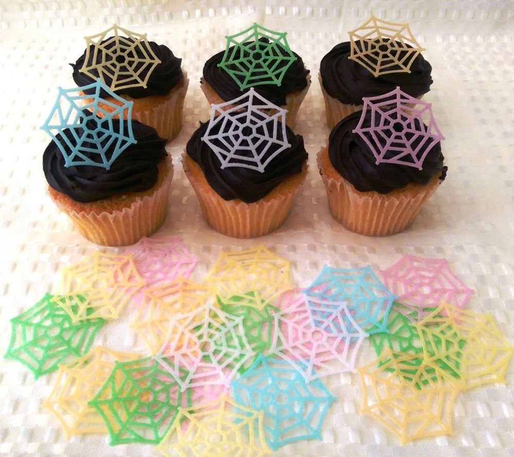 24 Edible Spider Web Spiderman Halloween Spooky Goth Party Cupcake Topper Cake