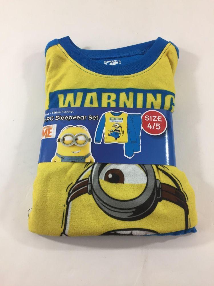 Despicable Me Toddler Boys Yellow Flannel Minions Pajamas Sleep Set