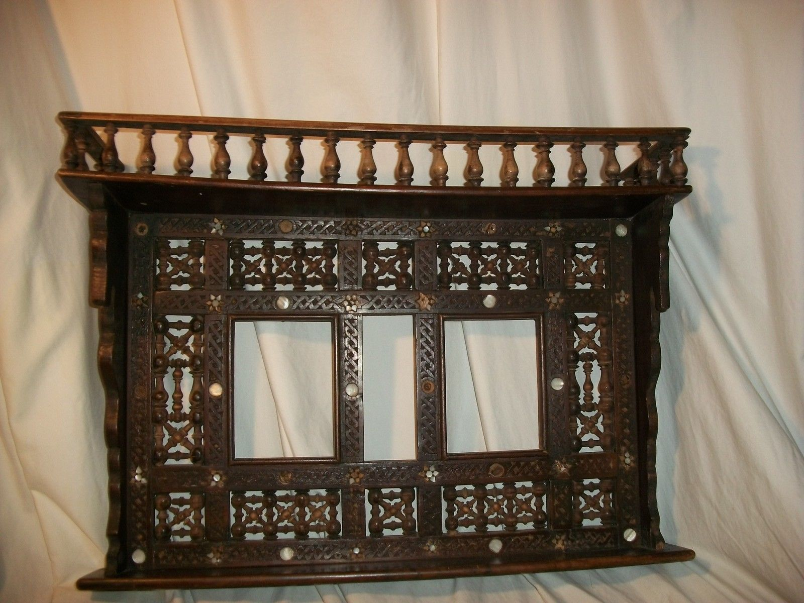 Authentic egyptian furniture - Vintage Handcrafted Egyptian Middle Eastern Islamic Mashrabiya Wood Wall Shelf