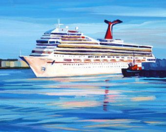 Maine Seascape Painting Casco Bay Cruise Ship Lets Go Cruisin - Buying a cruise ship