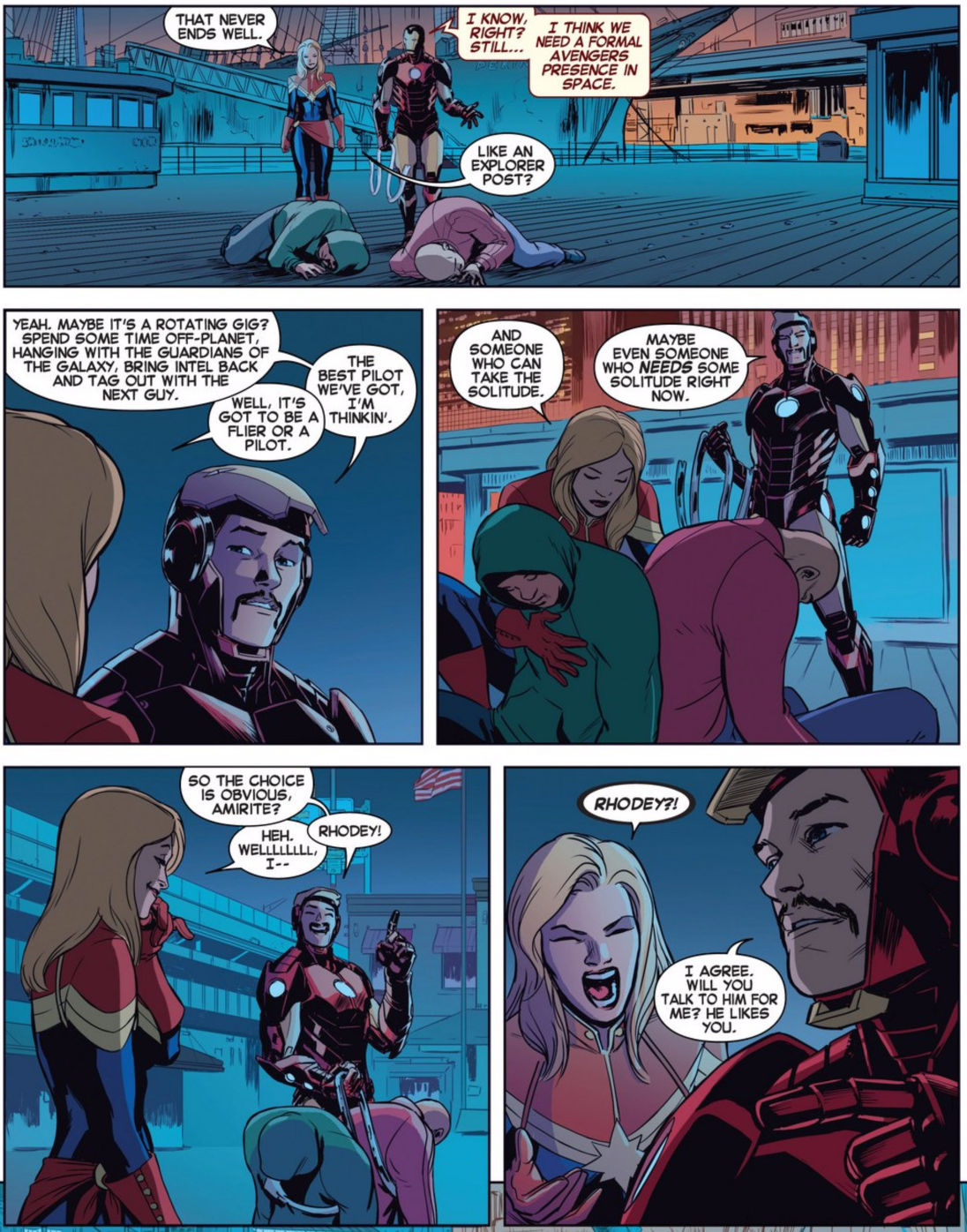 Captain Marvel #1, 12 March 2014, Tony giving Carol her place as the job of an Avenger in Space
