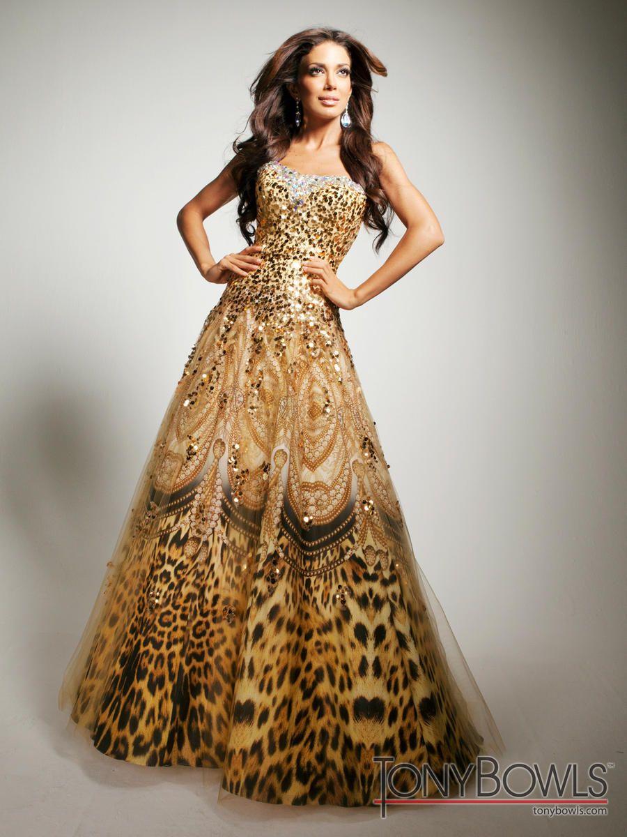 Tony Bowls Evenings Tbe11352 Gold Sequin Animal Print Prom Dress
