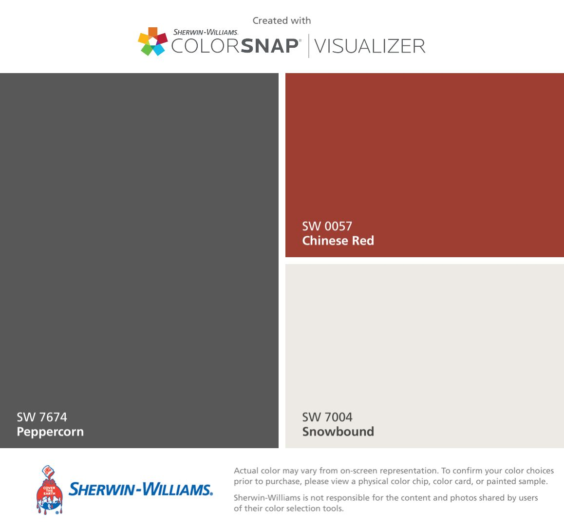 I Found These Colors With Colorsnap Visualizer For Iphone By Sherwin Williams Peppercorn Sw 7674 Chinese Red 0057 Snowbound 7004