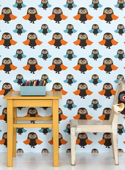 Kindertapete owls von ferm Living | Eulenmotive, Kinderzimmer tapete ...