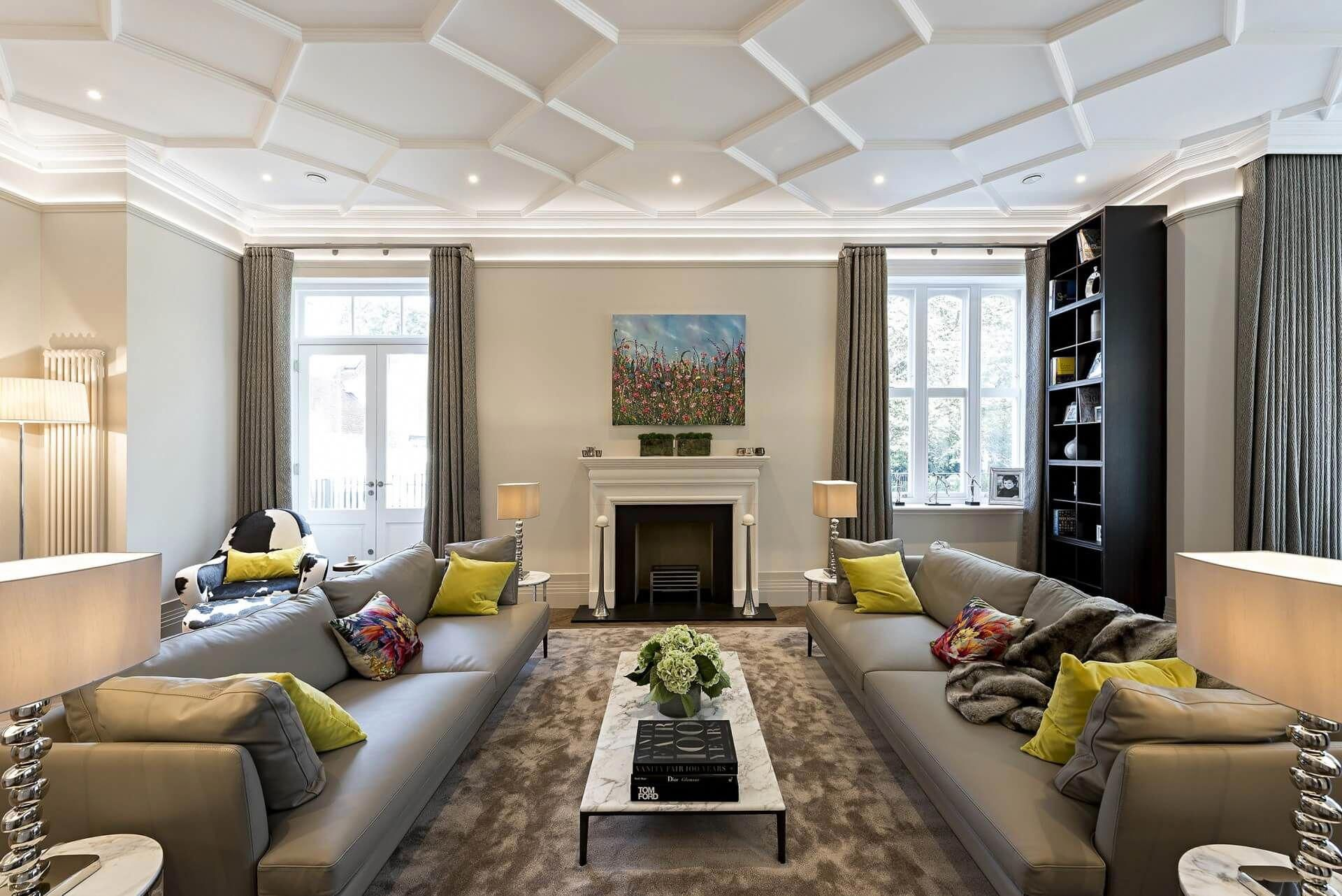 Contemporary Luxe Living Room Of A Modern Mansion With Fireplace